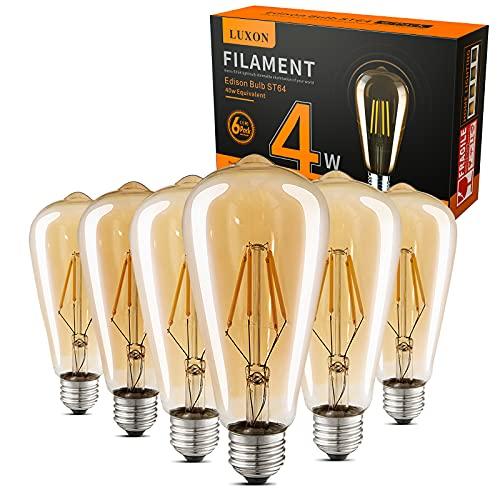 LED Edison Bulbs Dimmable,Amber Warm 2700K 4W(40W...