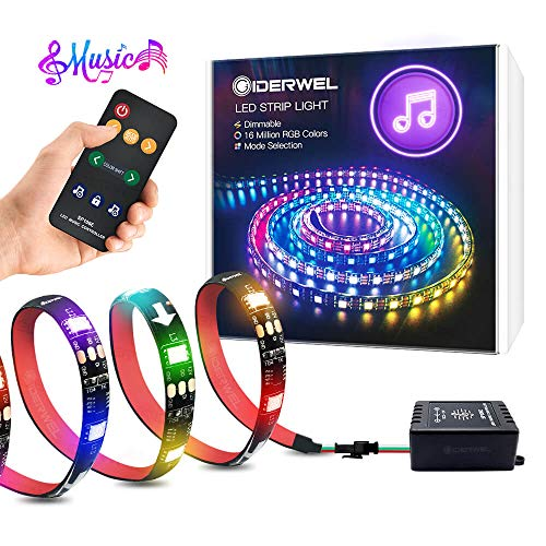 GIDERWEL DreamColor LED Streifen Music Sync,3m RGB Adressierbarer Flexibler Streifen Eingebauter IC mit LED Musik Controller für TV,Spiele,Inneneinrichtung,Kein WiFi und Bluetooth erforderlich