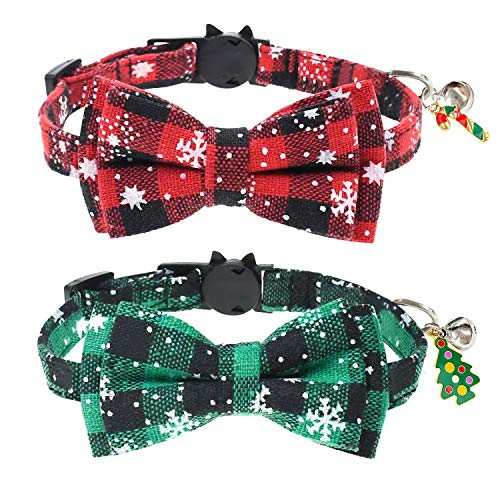 Malier 2 Pack Cat Collar Breakaway with Cute Bow Tie and Bell, Christmas Classic Plaid Snowflake Pattern Collar with Adjustable Safety Buckle Suitable for Cats Kitty Kitten