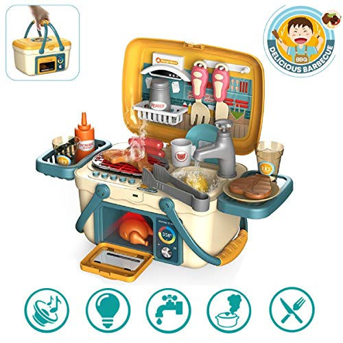 SUPER-ELE Kids BBQ Grill PlaySet, Portable Picnic Kitchen Basket Toys with Musics & Lights, Play Foods, Cooking Pretend Play Oven for Toddlers Girls and Boys Birthday & Christmas Gifts Age 2 3 4 5