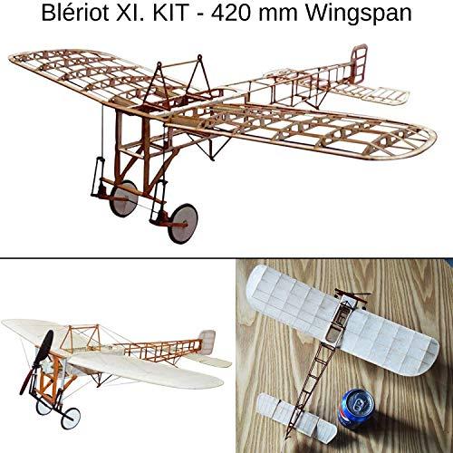 Blériot XI Slow Flyer KIT, 420 mm Spannweite, Maßstab 1/20, Modellflugzeug zum selber Bauen, Balsa Holz Bausatz, RC Flugzeugmodell Baukasten, 368 x 420 x 130 mm groß, Lasercut, 37,9 g Fluggewicht