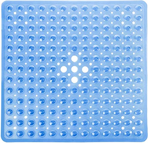 Yimobra Duschmatte für Badewanne, 53 x 53 cm, Quadratische Matte, Rutschfest mit Abflusslöchern, Saugnäpfen, BPA, Latex, Phthalatfrei, Maschinenwaschbar, Klar Blau
