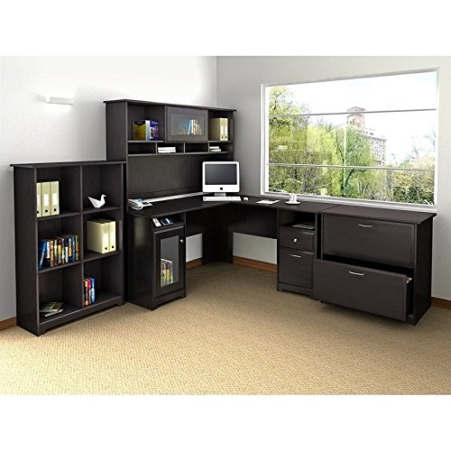 Bush Furniture Cabot L Shaped Desk with Hutch, 6 Cube Organizer and Lateral File Cabinet in Espresso Oak