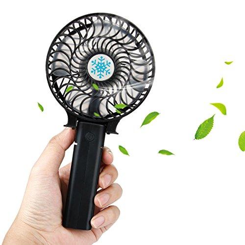 Mini Ventilatore con Batteria Ricaricabile - Mopalwin Portatile Ventilatore USB Manico Ventilatore 3 Velocità pieghevole ventola per Home Office Camera da Viaggio All'aperto (Nero)