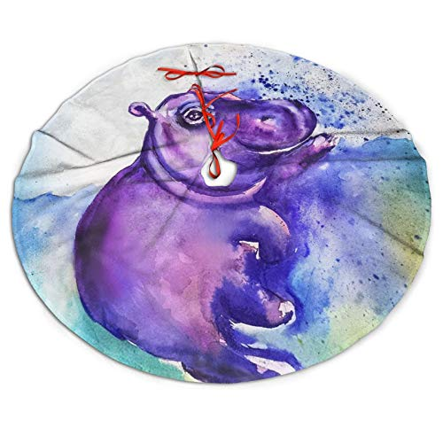 Christmas Tree Skirt, Purple Hippo Print Rustic Or Stylish Xmas Tree Holiday Decorations, Ornaments for 2021 New Year