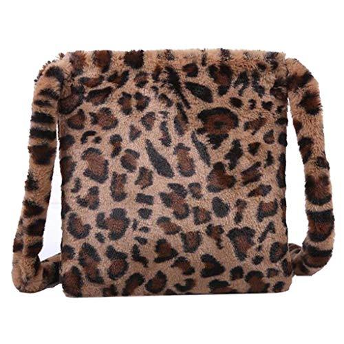 milageto Flauschigen Weiblichen Damen Handtasche Große Kapazität Mode Leopard Print Crossbody-tasche Frauen Plüsch Weichen Casual Schulter Umhängetasche - Braun