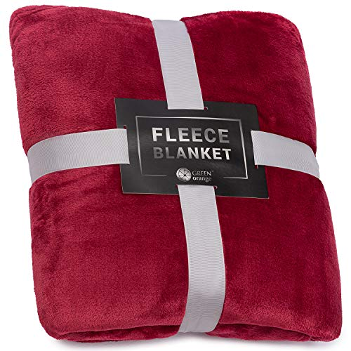 Manta para sofá, color naranja y verde de 152 x 203 cm, ligera, de franela de vino tinto, suave, mullida, cálida, acogedora, perfecta para cama, sofá...