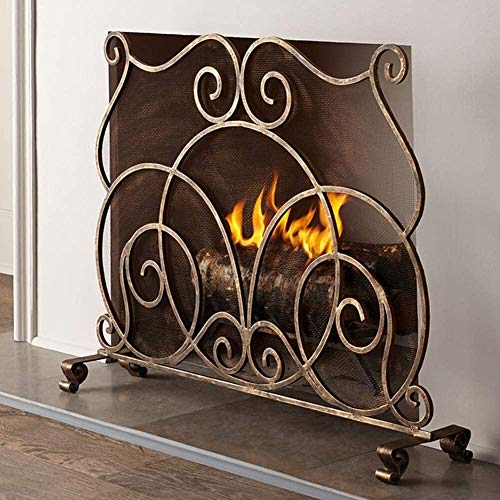 HYL Fire Screen Protector Fireplace Screen Fireplace Screen Single Panel Flat With Decorative Scrol, Freestanding Fire Guard Spark Screen For Baby Child Safety, Vintage Gold Finished