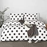 NTBAY Microfiber Queen Duvet Cover Set, 3 Pieces Ultra Soft Stars Printed Comforter Cover Set with Zipper Closure and Corner Ties, Black and White