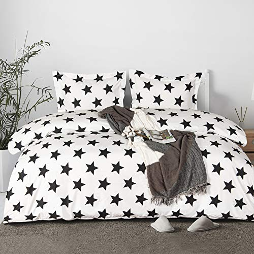 NTBAY Microfiber Kid's Duvet Cover Set, 2 Pieces Ultra Soft Zipper Closure Black and White Bedding Set, Twin Size, Stars
