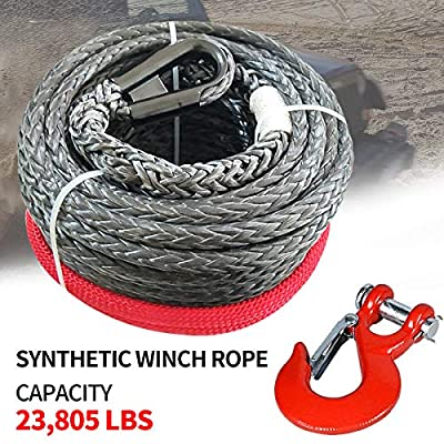 """RUGCEL WINCH 3/8"""" x 85' Synthetic Winch Rope with Hook, Winch Cable with Protective Sleeve, Car Tow Recovery Cable for 4WD Off Road Vehicle Truck ATV UTV SUV(23,805 LBS Breaking Strength, Red Hook)"""