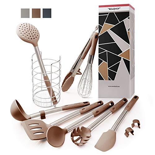 REMIHOF Silicone Kitchen Utensil 9-Piece Set of Premium Stainless...