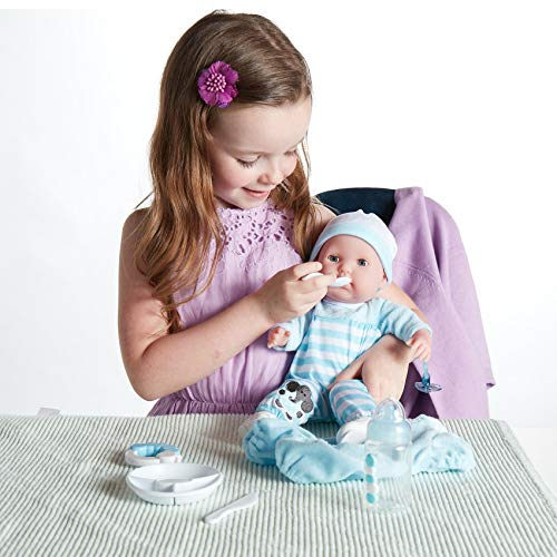 15' Realistic Soft Body Baby Doll with Open/Close Eyes | JC Toys - Berenguer Boutique | 10 Piece Gift Set with Bottle, Rattle, Pacifier & Accessories | Blue | Ages 2+