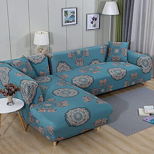 Funda de sofá elástica Estampada, Hermoso patrón Decorativo, Toalla para sofá de Sala de Estar, Funda de sofá Antideslizante para Sala de Estar A6 de 2 plazas