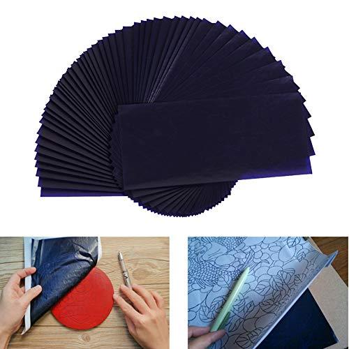 Toruiwa Lot de 100 feuilles de papier calque bleu - Format A4 - Pour impression sur bois, toile et autres surfaces artistiques