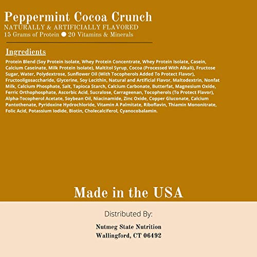 Peppermint Cocoa Crunch Bar 15 grams of protein 17 Vitamins and Minerals