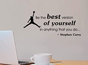 Stephen Curry Affiche Wall Decal Be The Best Version Of Yourself Quote Basketball Fitness Sport Vinyl Sticke Gym Decor 30X57Cm