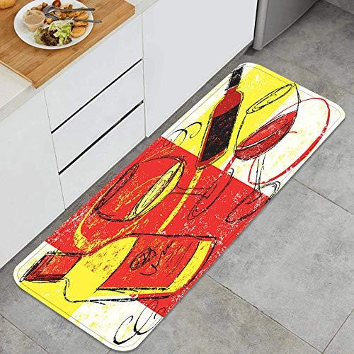 AndrewTop Cocina Antideslizante Alfombras de pie Fiesta del Vino Decoración de Piso Confortables para el hogar, Fregadero, lavandería-120cm x 45cm