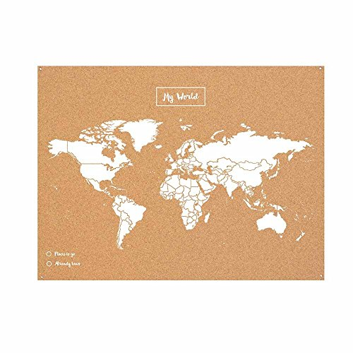 Miss Wood Map L, Mapa del Mundo de Corcho, 45 x 60 cm, Natural/ Blanco