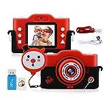 """GREPRO Kinder Kamera, 1080PHD 40MP Fotoapparat Kinder für 4-14 Jahre alt mädchen und Jungen, 2.0""""Display MP3-Player Kinder Digitalkamera für Geburtstag, Silikonhülle und 32GB Card(Rot"""