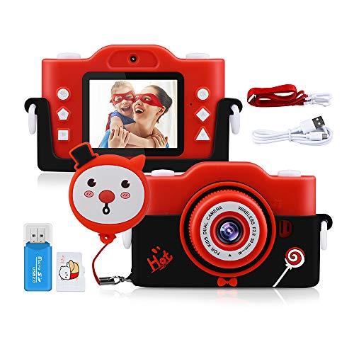 Fotocamera Bambini, 1080P 40MP 2.0 Pollici Macchina Fotografica per Bambini per 4 8 6 10 14 Anni per Regali di Compleanno con Custodia in Silicone Morbido e Scheda SD da 32 GB