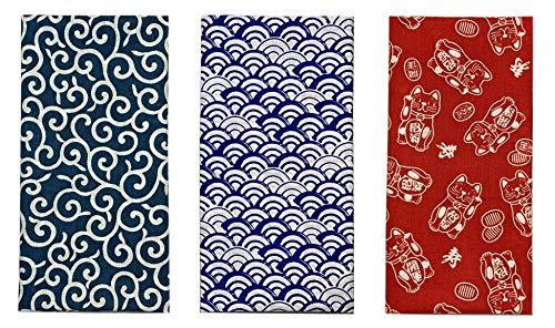Yagisei Hecho en Japón Komon Tenugui Toalla 3 Tipo Set (Karakusa, Azul Olas, Maneki Neko)