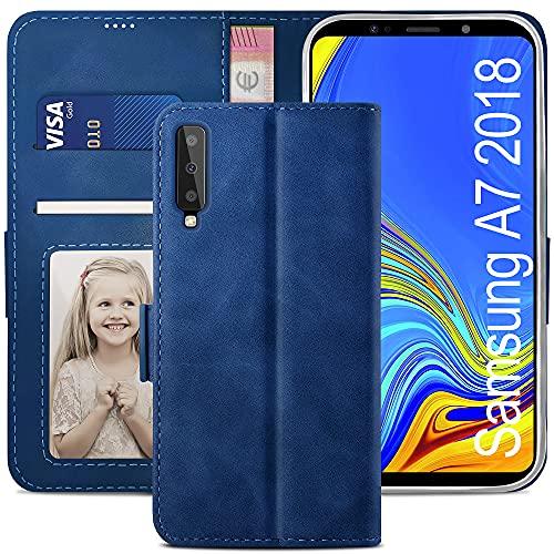 YATWIN Funda Samsung Galaxy A7 2018, Cuero Premium Flip Folio Carcasa para Samsung A7 2018, Soporte Plegable, Ranura para Tarjeta, Cierre Magnético, Compatible para Galaxy A7 2018 - Azul