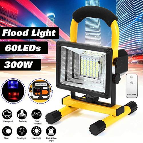 SymArt 300-900W LED Portátil Recargable Floodlight Foco Impermeable Spotlight Battered Light Light Lámpara de Trabajo al Aire Libre Camping Caliente para Senderismo, Camping, Caza