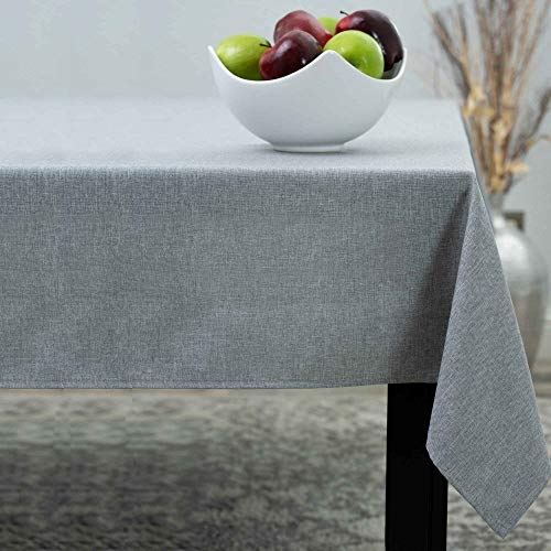 HOMCHIC Table Cloth, Linen Look, Spill Proof, Washable, Specially Treated Polyester, Easy Care, Heavy Fabric - 60 x 104 Inch – Slate Grey (Bluish Grey), Rectangular Oblong Tablecloth (210GSM).