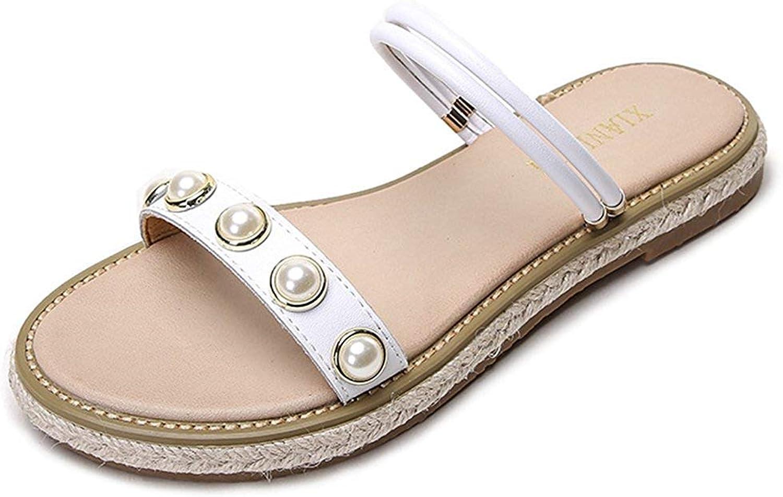 Lelehwhge Women's Comfort Pearls Open Toe Slide On Flats Sandals for Beach White 5 M US