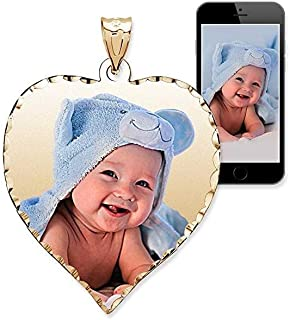 PicturesOnGold.com Personalized Photo Engraved Heart Shaped Custom Photo Pendant/Photo Necklace/Photo Charm with Diamond Cut Edge - 3/4 Inch x 3/4 Inch