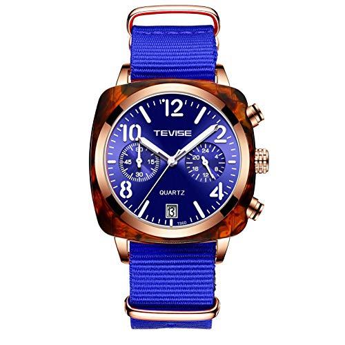 JTTM Relojes De Hombre, Reloj De Cuarzo Analógico De Negocios Único para Hombres Cronógrafo De Acero Inoxidable Relojes,Nylon Blue