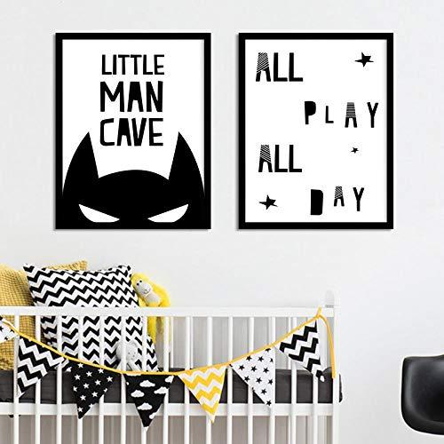 WADPJ cartoon Batman masker canvas kunst schilderijen zwart wit kinderkamer prints posters Scandinavische kinderen foto's jongens kamer decor-30x40cmx2 st. Geen lijst