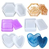 Box Resin Molds,3PCS Jewelry Box Resin Mold,Silicone Trinket Storage Box Resin Molds with Lid,DIY Box Epoxy Casting Molds Set in Heart Hexagon Square Shape …