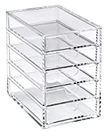 Versatile and stylish 5 drawer acrylic storage chest for any room in the house or office. It's perfect for tidying away all of your desktop clutter. Multi-purpose stylish storage. Durable and easy to clean. Non-slip clear resin feet. Measurements : H...
