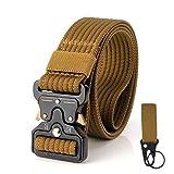 S.Lux 2 Piezas Hombres Cinturón de Lona, YKK Hebilla de Plástico Cinturón de Secado Rápido Transpirable Hipoalergénico Cinturón Recreación al aire libre Fitness Ejercicio (Marrón A)
