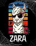 Zara: Personalized Vintage Llama Sketchbook Gift For Girls with Customized names ( Zara ) | Halloween Sketchbook for girls