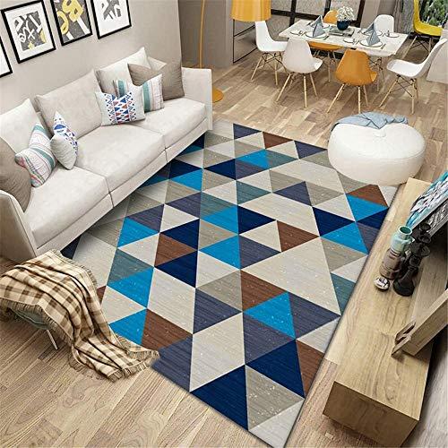 bettvorleger Schlafzimmer Wohnzimmer rechteckigen Teppich geometrisches Muster blau grau maschinenwaschbar weich kinderteppiche tepiche für Schlafzimmer 80X120CM 2ft 7.5' X3ft 11.2'