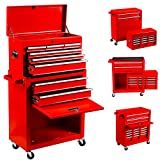 8-Drawer Tool Chest Tool Box,High Capacity Rolling Tool Chest Tool Storage Cabinet with 4 Wheels, 2 in 1 Large Toolbox Tool Organizer with Lockable Drawer for Garage Warehouse Workshop 2021 (red8)