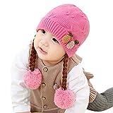 ZEZKT chicas lindas bebé trenza de invierno crochet punto sombrero gorro de...