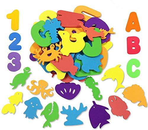 GuassLee 66 st badleksaker skum bokstäver alfabet siffror djur leksaker set för barn bad tid kul