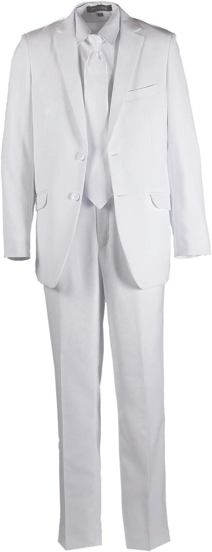 Tuxgear Boys Slim Fit Communion Suit White with Tie & Suspenders