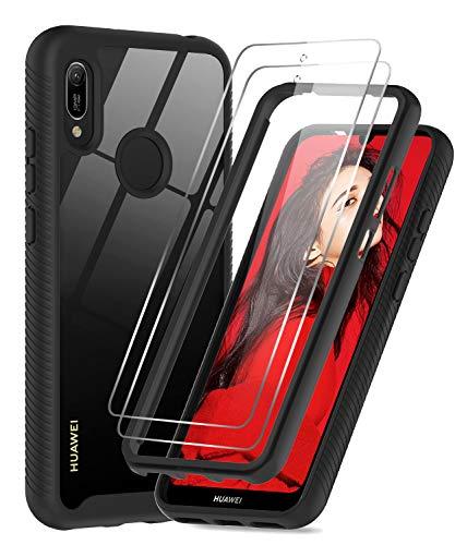LeYi Hülle für Huawei Y6 2019 Mit [2 Stück] Folie Panzerglas, Durchsichtig Stoßfest Handyhülle Transparent Silikon Schutzhülle Hard PC und Weich Slim TPU Bumper Clear Cover für Huawei Y6 2019 schwarz