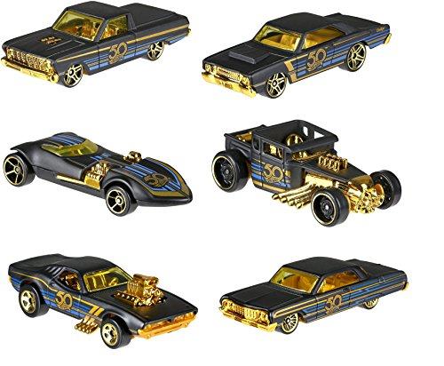 Hot Wheels 50th Anniversary SET mattschwarz /Gold - Bone Shaker, Twin Mill, Rodger Dodger, Dodge Dart, Impala & Ford Ranchero