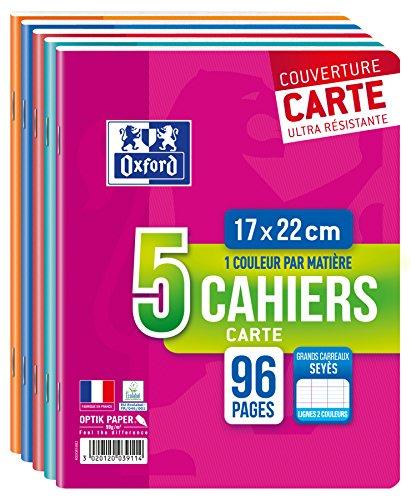 Oxford Color Life - Lot de 5 Cahiers Agrafés 17 x 22cm 96 Pages Grands Carreaux Seyès 90g