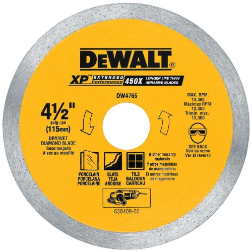 DEWALT Diamond Blade for Porcelain Tile, Wet/Dry, 4-1/2-Inch (DW4765)