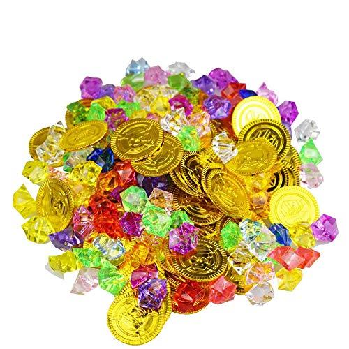 Ritte 100 Stück Piraten-Goldmünzen-Edelstein-Set, Kunststoffmünzen, Acryl-Diamanten, Piraten-Schatz-Spielzeug für Kinder Party Supply, Schatzsuche, Kindergeburtstag.