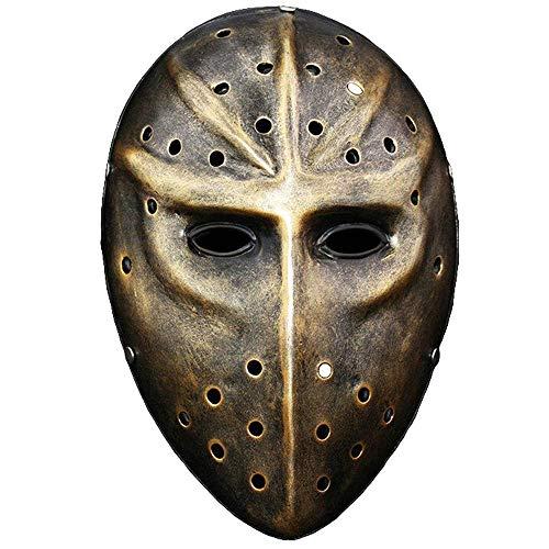 KCGNBQING Jason Voorhees Viernes The 13th Horror Movie Hockey Máscara de Hockey Scary Halloween Máscaras Festival Fiesta Máscaras Masquerade Máscara Plata (Color : Brass)