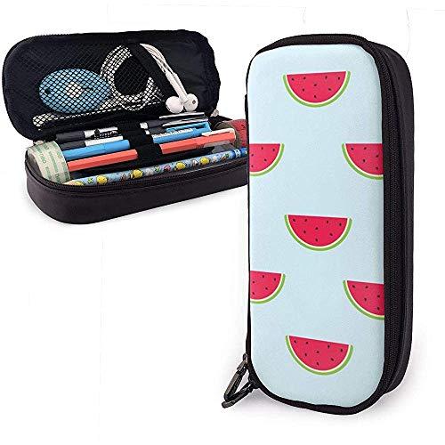 Federmäppchen Wassermelone Schnittmuster PU Leder Beutel Aufbewahrungsbeutel Tragbare Bleistiftbeutel Reißverschluss Geldbörsen