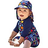 PROTAURI Baby Boys Girls Colorful Fish One-Piece Rash Guard Long Sleeve Swimsuit UV Protection Swimwear with Cap Blue